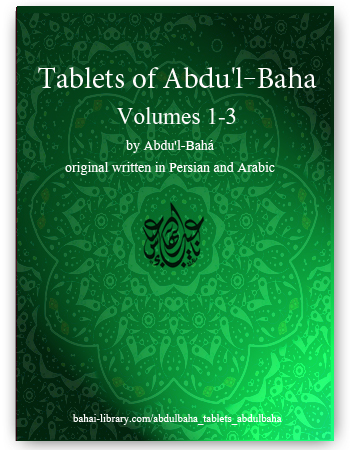 book tablets of abdul baha