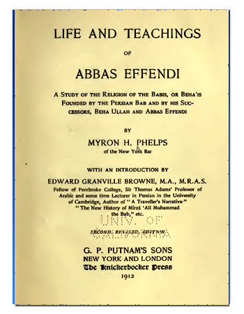 book ABAS EFFENDI LIFE AND TEACHING