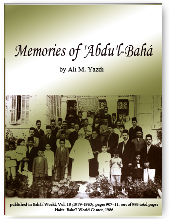 book memoies of abdul baha by yazdi